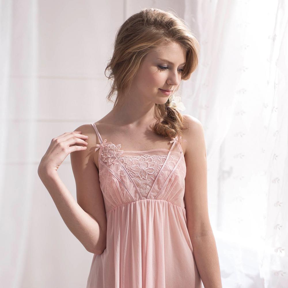 羅絲美睡衣 - 典雅迷人性感洋裝睡衣 (迷人粉)