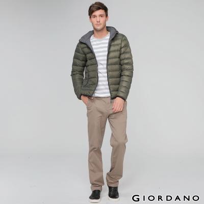 GIORDANO-男裝90-羽絨雙面穿修身連帽輕羽絨外套-50綠-深花灰
