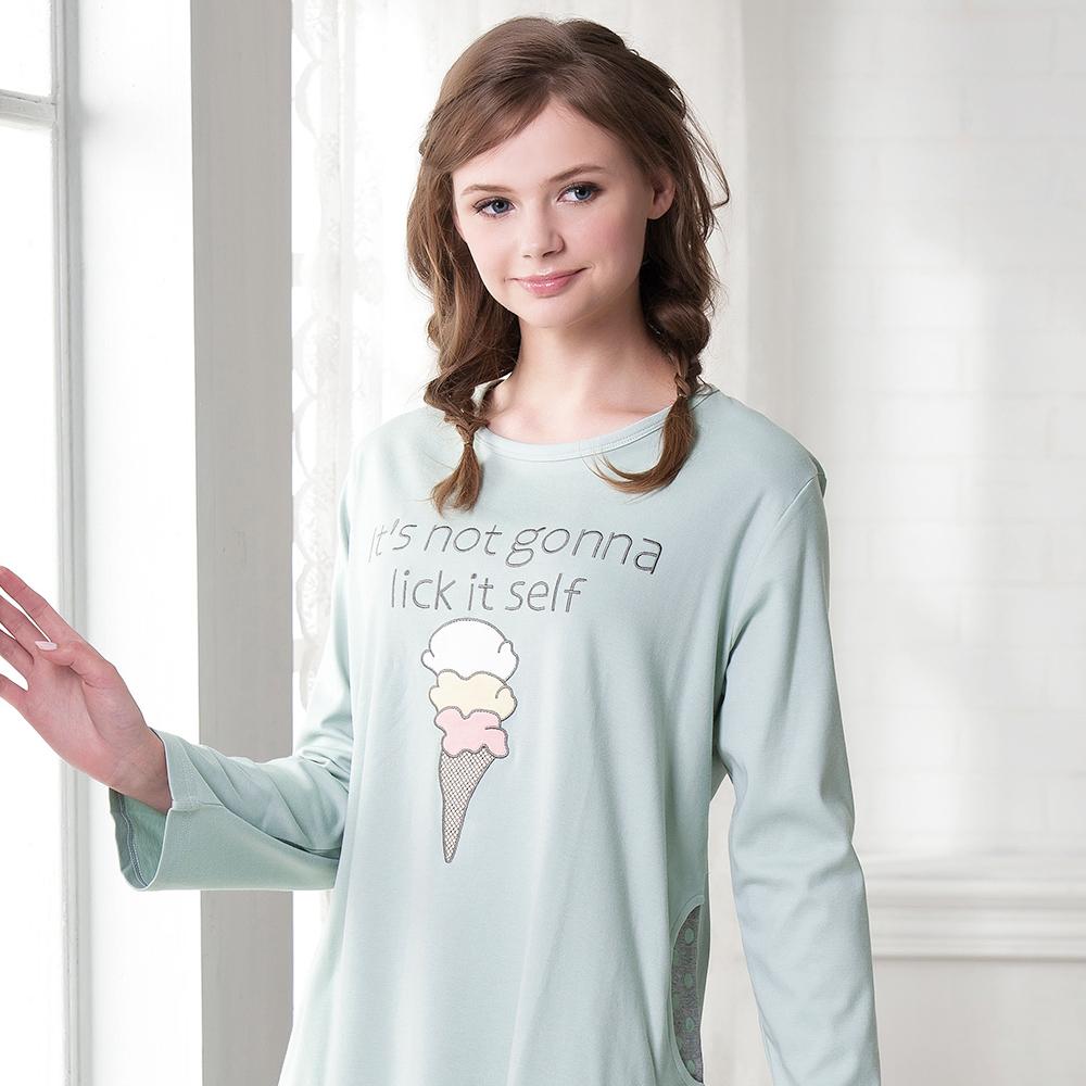 羅絲美睡衣 - 童話人生長袖洋裝睡衣(藍綠色)