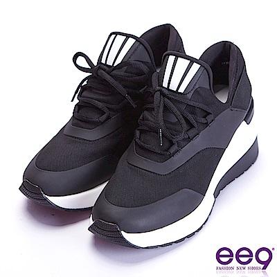 ee9 青春活力繽紛撞色率性綁帶運動休閒鞋 黑色