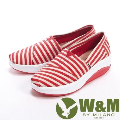 W&M BOUNCE 超彈力百搭條紋增高鞋女鞋-紅
