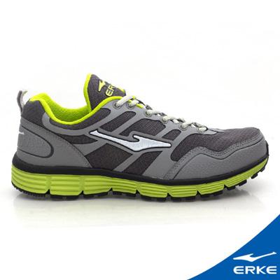 ERKE 鴻星爾克。男運動常規慢跑鞋-中灰/清竹綠