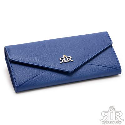 2R-Napa牛皮十字紋信封長夾-寶石藍