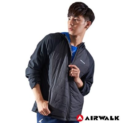【AIRWALK】男款連帽拼接鋪棉外套-黑色