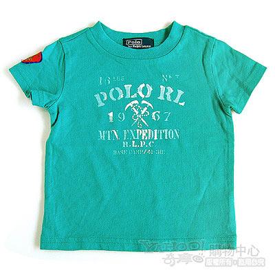 RALPH LAUREN 藍綠POLO立體徽章短袖T恤(9個月)