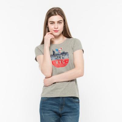Hang Ten - 女裝 - 有機棉 趣遊美國自由女神T-Shirt -灰