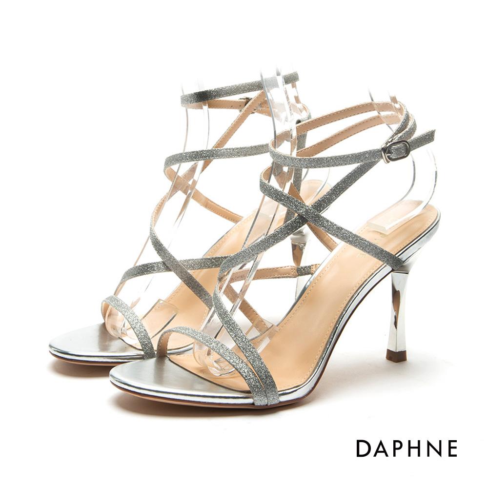 達芙妮DAPHNE 涼鞋-亮片金蔥細帶纏繞高跟涼鞋-銀