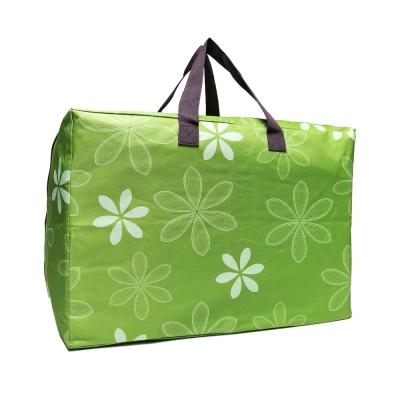 DF Queenin - 牛津布實用款大收納旅行袋-綠色花