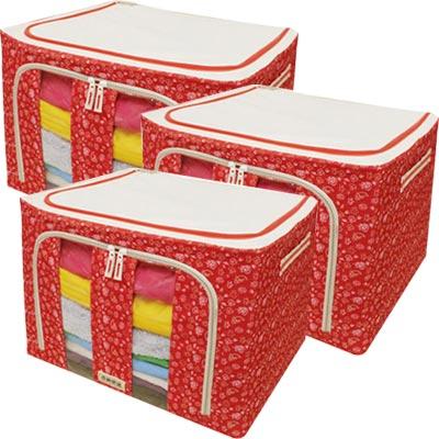 《購得樂》雙開式百納箱66L(三件組)(收納箱 / 整理箱 / 置物箱)