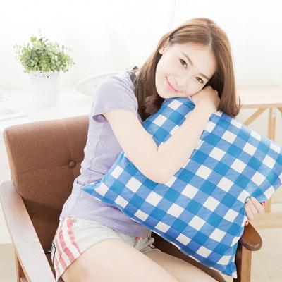奶油獅 格紋系列-台灣製造-100%精梳純棉方型抱枕布套-50*50專用(藍)