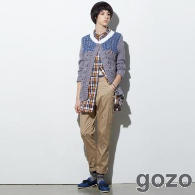 gozo-波浪褲頭配色刺繡造型長褲-共二色