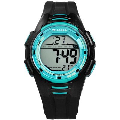JAGA 捷卡 電子液晶冷光照明計時碼錶鬧鈴運動橡膠手錶-黑藍色/44mm