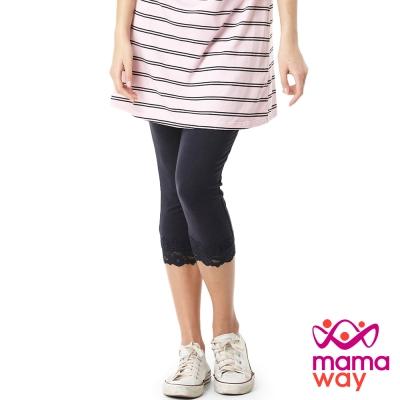 【Mamaway】孕婦蕾絲七分貼腿褲 (共三色)