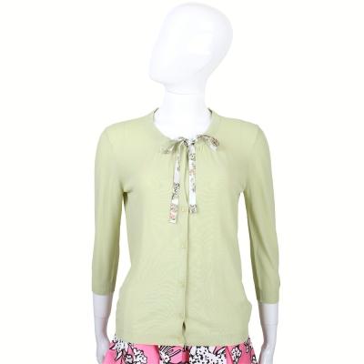 MAX MARA 淺綠色印花綁帶針織外套