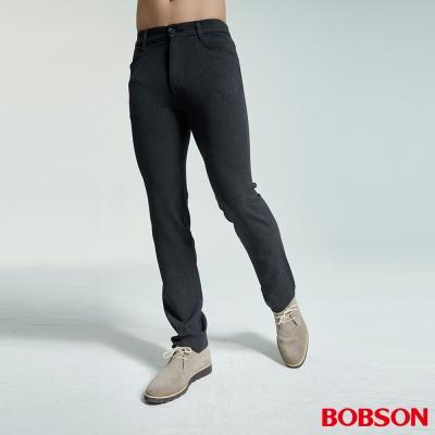 BOBSON 男款中腰彈性灰黑直筒褲