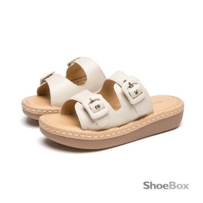 鞋櫃ShoeBox-舒感視覺雙皮帶彈力拖鞋-百搭米白