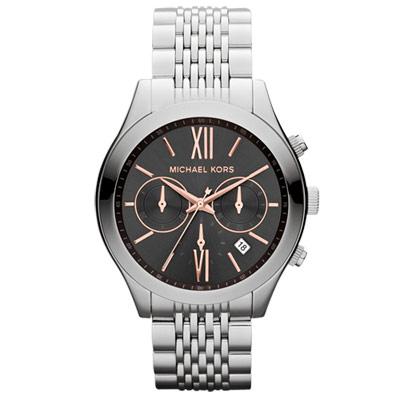Michael Kors 趨勢潮流三眼都會腕錶-鋼帶/黑/41mm