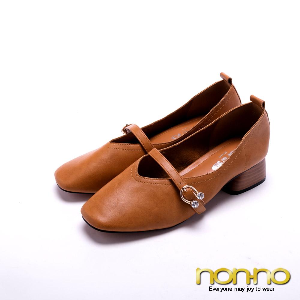 nonno法式溫柔 鑽飾木紋低跟鞋-黃