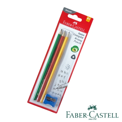 Faber-Castell 紅色系 2B大三角鉛筆 3支入