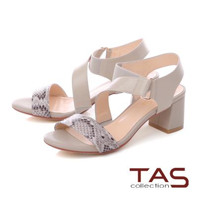 TAS 曲線繫帶蛇紋拼接粗跟涼鞋-蛇紋灰
