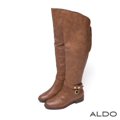 ALDO-原色幾何交叉金屬釦帶木跟長靴-個性焦糖