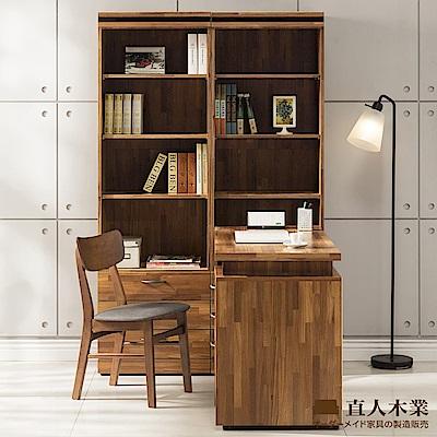 日本直人木業-BRAC層木二個3抽書櫃搭配調整書桌(160x120x192cm)