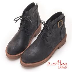 2.Maa - 簡約綁帶造型後扣飾造型短靴-黑