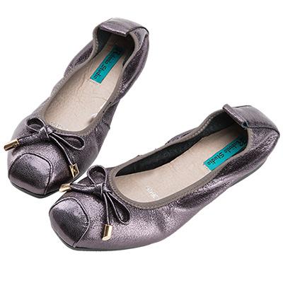 Robinlo Studio 甜美浪漫蝴蝶結芭蕾舞娃娃鞋 錫灰