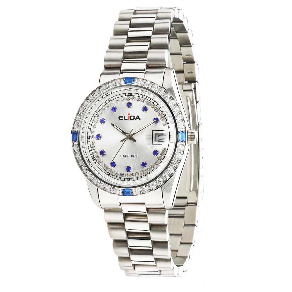 Elida 晶鑽時尚腕錶-銀白/36mm