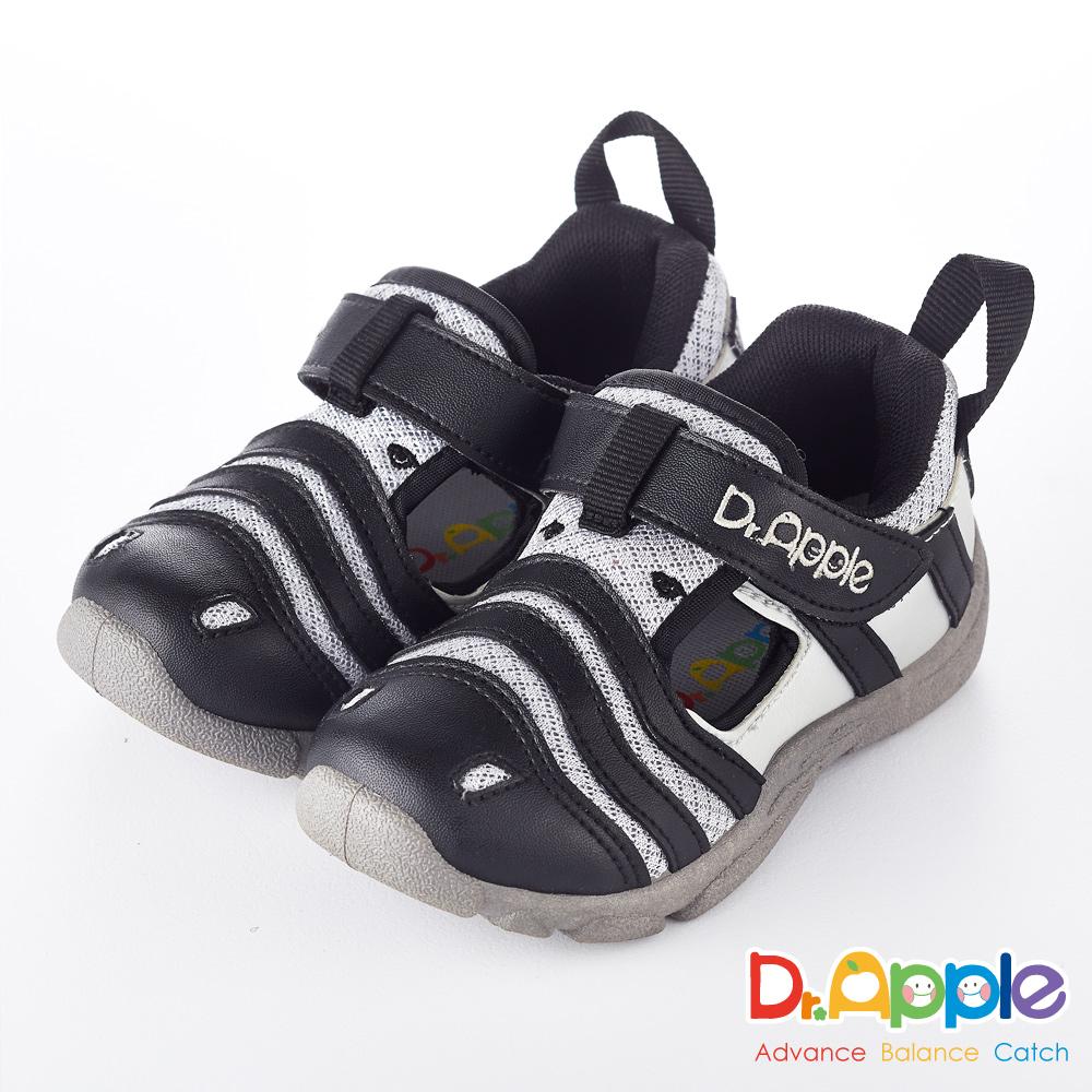 Dr. Apple 機能童鞋 淘氣繽紛斑馬休閒涼鞋款  黑