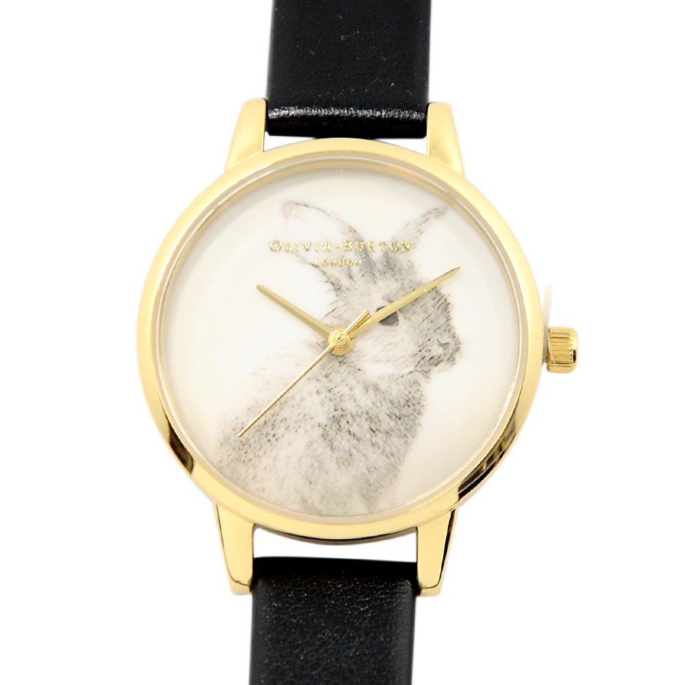 Olivia Burton 英倫復古手錶 林地友善兔子 黑色真皮錶帶 金色錶框 30mm