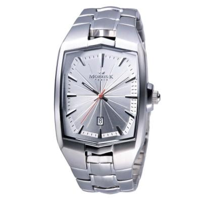MORRIS K 巴黎時尚光茫波紋腕錶-銀白/44mm