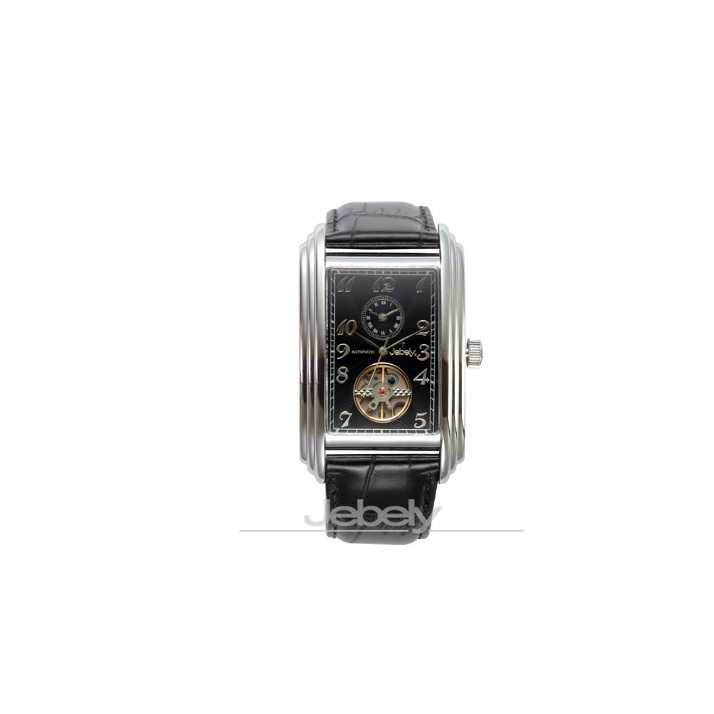 Jebely 日內瓦公約系列雙時區小鏤空機械錶-貴族黑/34mm
