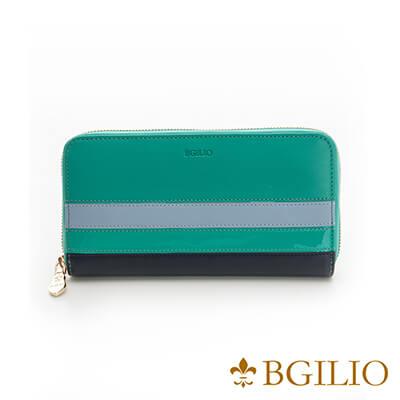 義大利Bgilio Nappa軟牛皮獨特配色拉鍊長夾-淺綠色-1942.323B-08