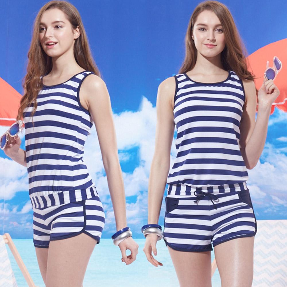 兩件式背心短褲泳裝 海洋風藍色條紋 (T-365) TiNyHouSe