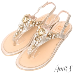 Ann'S透徹水鑽寶石夾腳小坡跟夾腳涼鞋-金