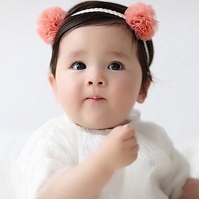 Baby unicorn 珊瑚橘雙網紗花朵髮帶