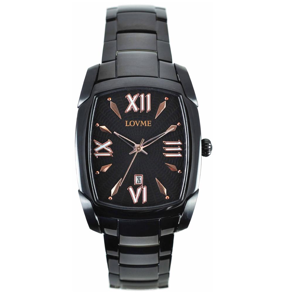 LOVME紫色狂想曲系列腕錶-IP黑x玫瑰金刻度/37mm