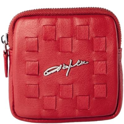 OBHOLIC 紅色義大利NAPPA軟牛皮編織拉鍊零錢包硬幣袋