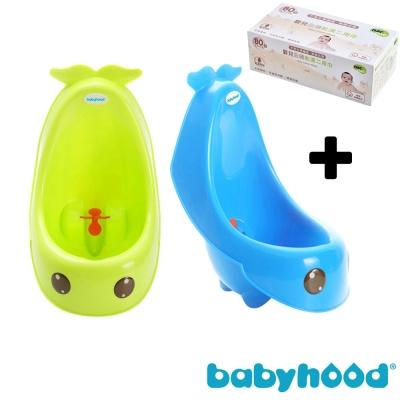 baby hood 藍鯨艾達便斗+Nac Nac 嬰兒全棉乾濕二用巾80抽 (顏色任選)