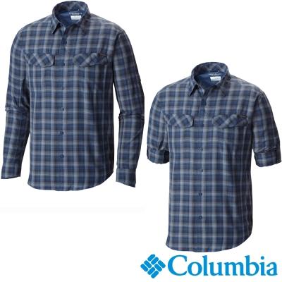 【美國Columbia哥倫比亞】男-快排防曬30襯衫-藍  UAE74410BL