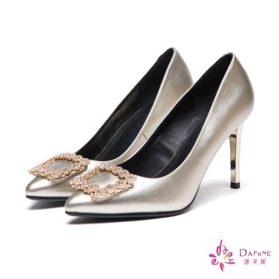 達芙妮DAPHNE 高跟鞋-水鑽方釦金屬色尖頭鞋-金