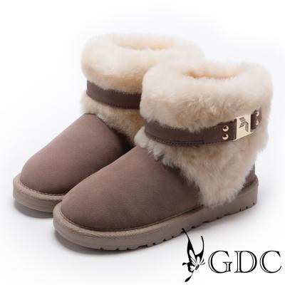 GDC-甜美氣質方釦毛毛雪靴-豆沙色
