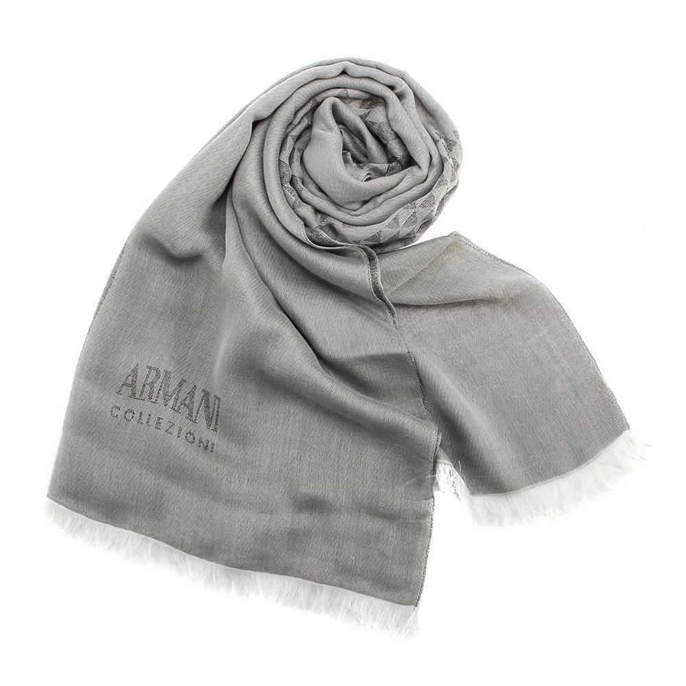 ARMANI COLLEZIONI 經典千鳥格紋流蘇圍巾-灰色