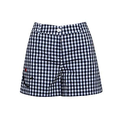 FILA 女款棉質格紋短褲-白 5SHS-1435-WT