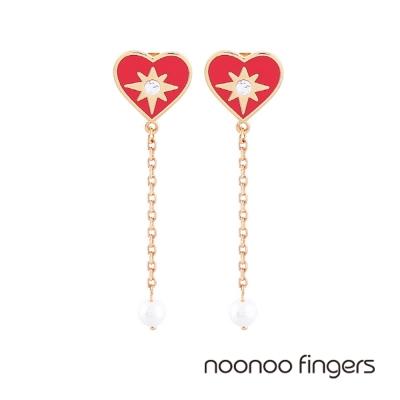 Noonoo Fingers Mashangs Pearl Drop 愛心光芒珍珠垂墜耳環