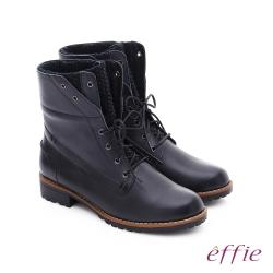 effie 混搭美型 異材質拼接綁帶中筒靴 黑
