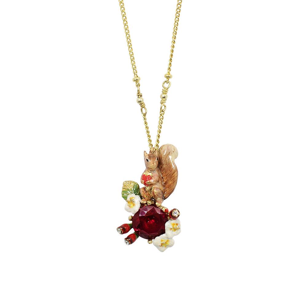 Les Nereides  動物花園系列  紅寶石松鼠漿果項鍊