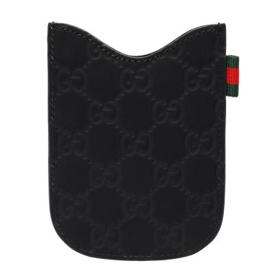 GUCCI 經典Guccissima GG壓紋霧面牛皮手機保護套(黑)