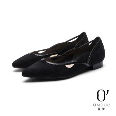 達芙妮x高圓圓 圓漾系列 平底鞋-黑白拼接曲線細帶平底尖頭鞋-黑